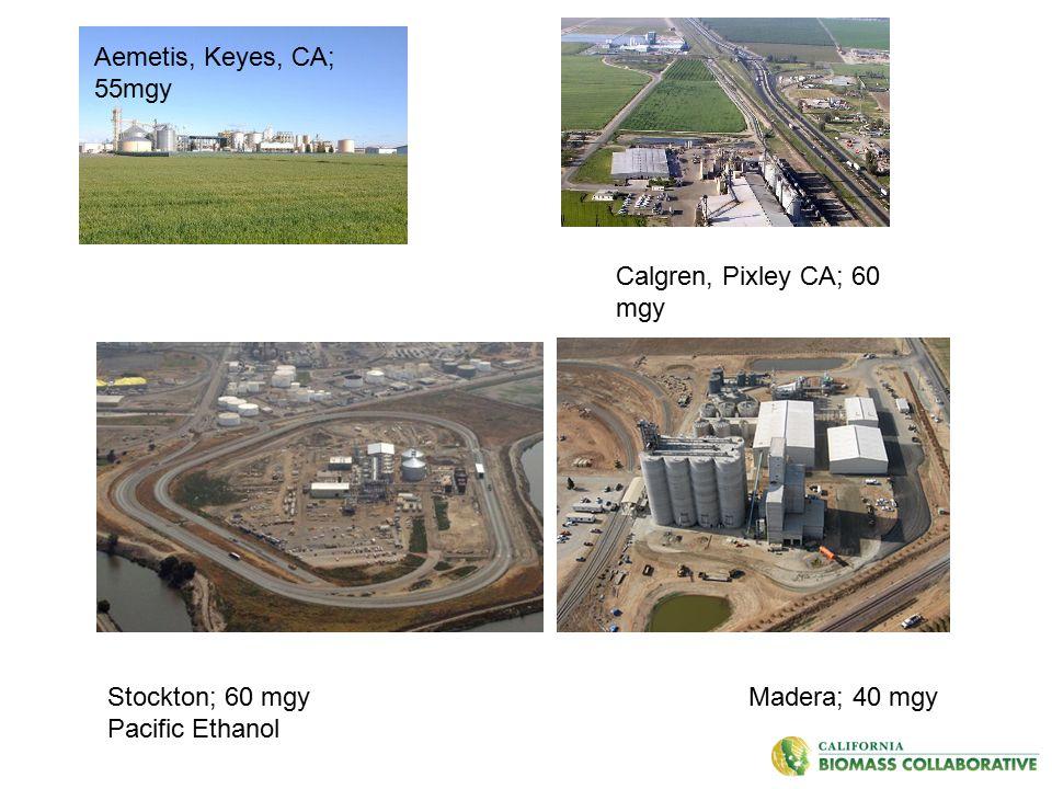 Aemetis, Keyes, CA; 55mgy Stockton; 60 mgy Madera; 40 mgy Pacific Ethanol Calgren, Pixley CA; 60 mgy