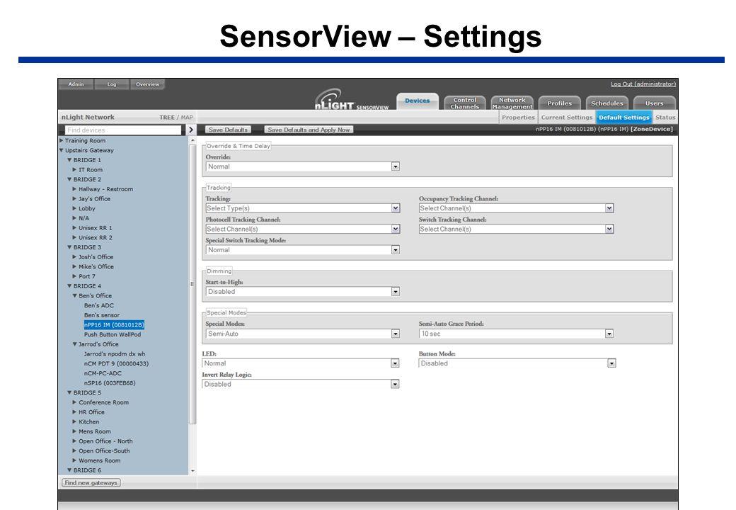 SensorView – Settings