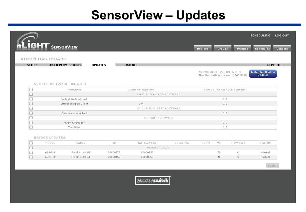 SensorView – Updates