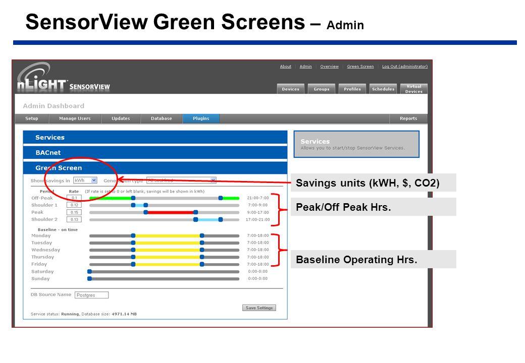 SensorView Green Screens – Admin Baseline Operating Hrs.