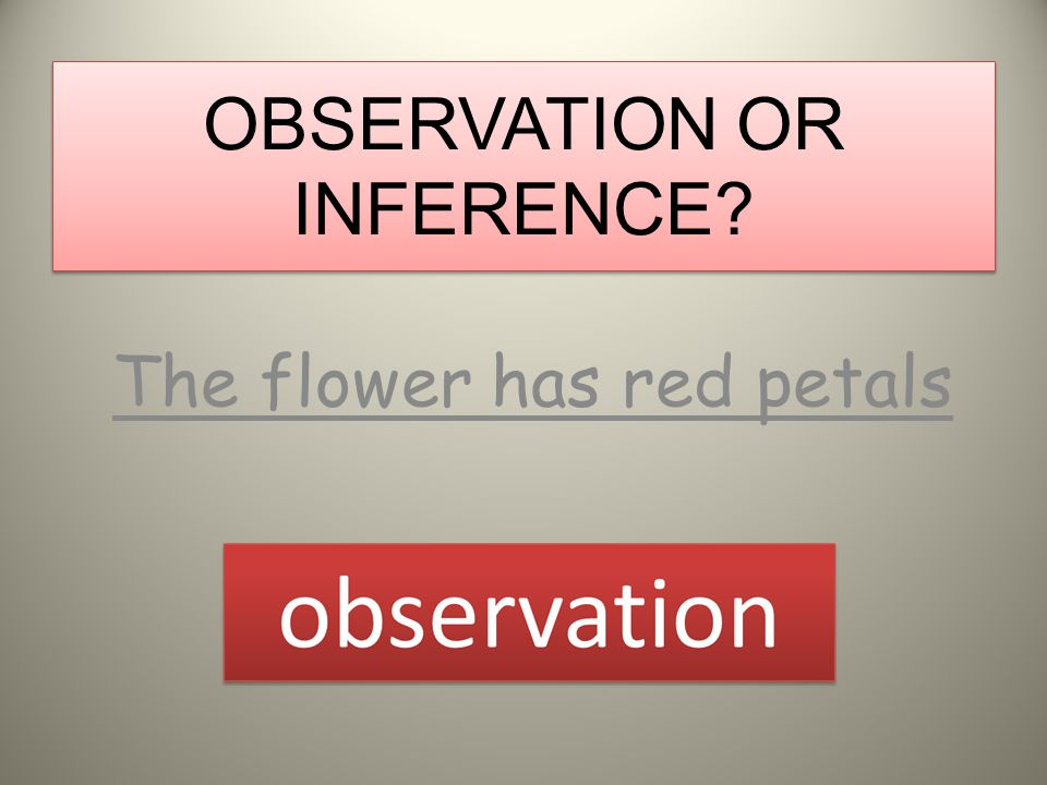 OBSERVATION OR INFERENCE? The bell is ringing observation