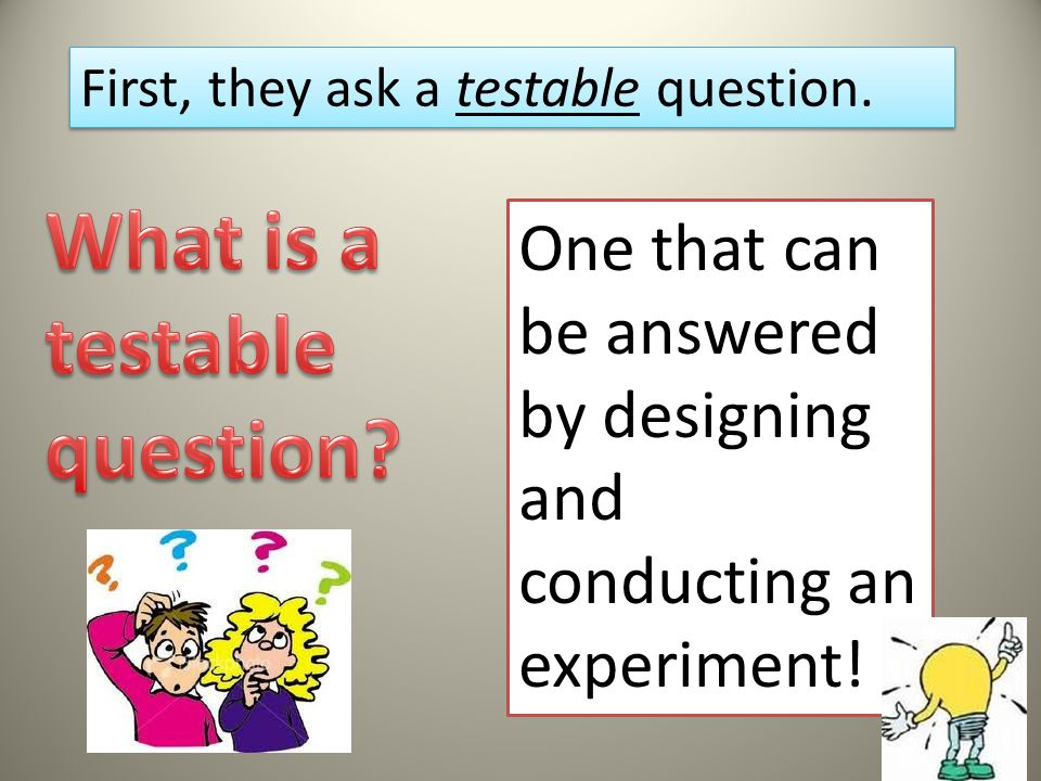 How do scientists design an experiment? They ask a testable question They state a hypothesis They design an experiment to test the hypothesis They con