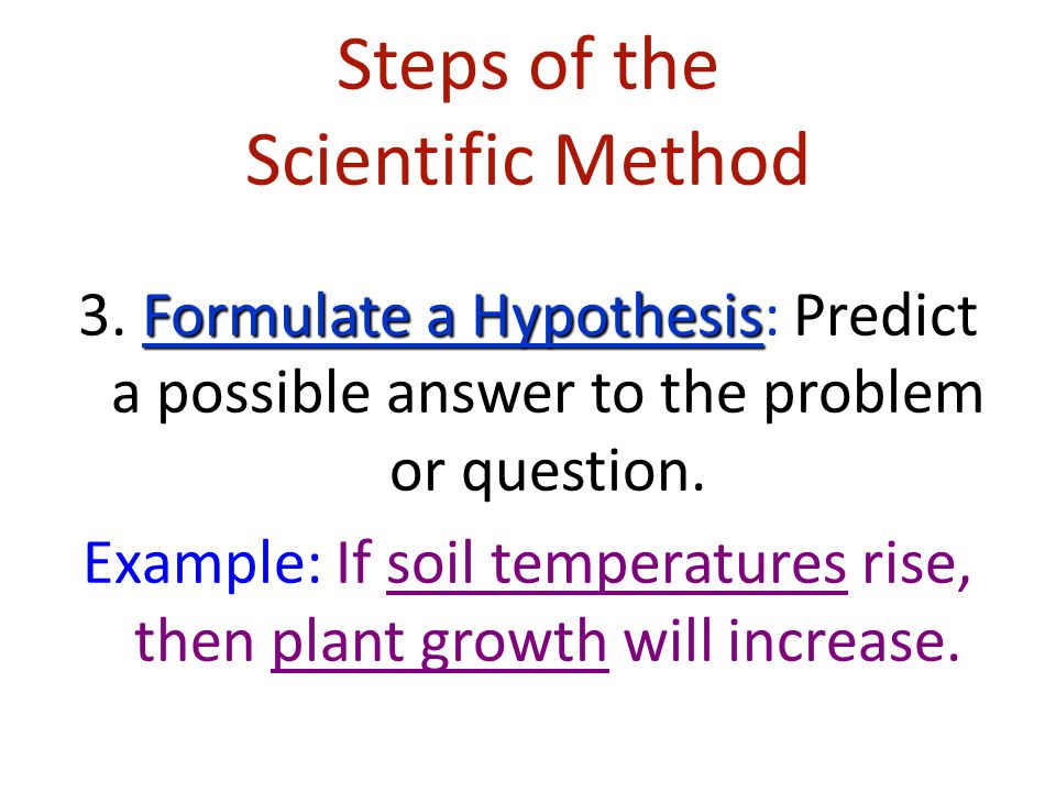 Steps of the Scientific Method Observation/Research 2. Observation/Research: Make observations and research your topic of interest.