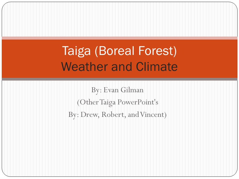 By: Evan Gilman (Other Taiga PowerPoint s By: Drew, Robert, and Vincent) Taiga (Boreal Forest) Weather and Climate