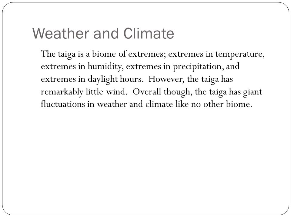 Weather and Climate The taiga is a biome of extremes; extremes in temperature, extremes in humidity, extremes in precipitation, and extremes in daylight hours.