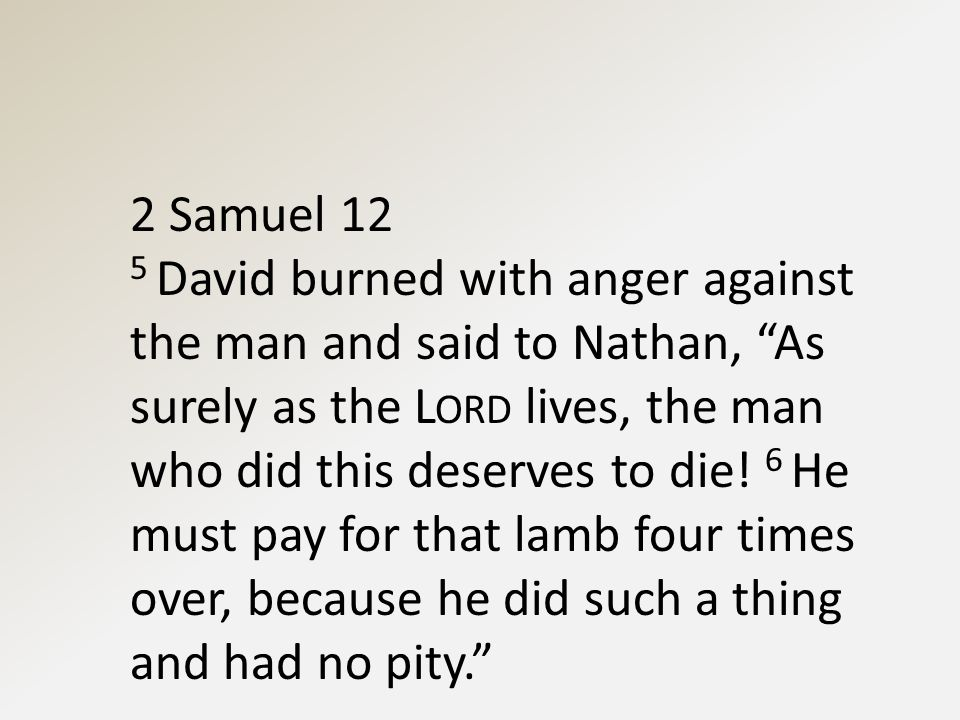 2 Samuel 12 5 David burned with anger against the man and said to Nathan, As surely as the L ORD lives, the man who did this deserves to die.