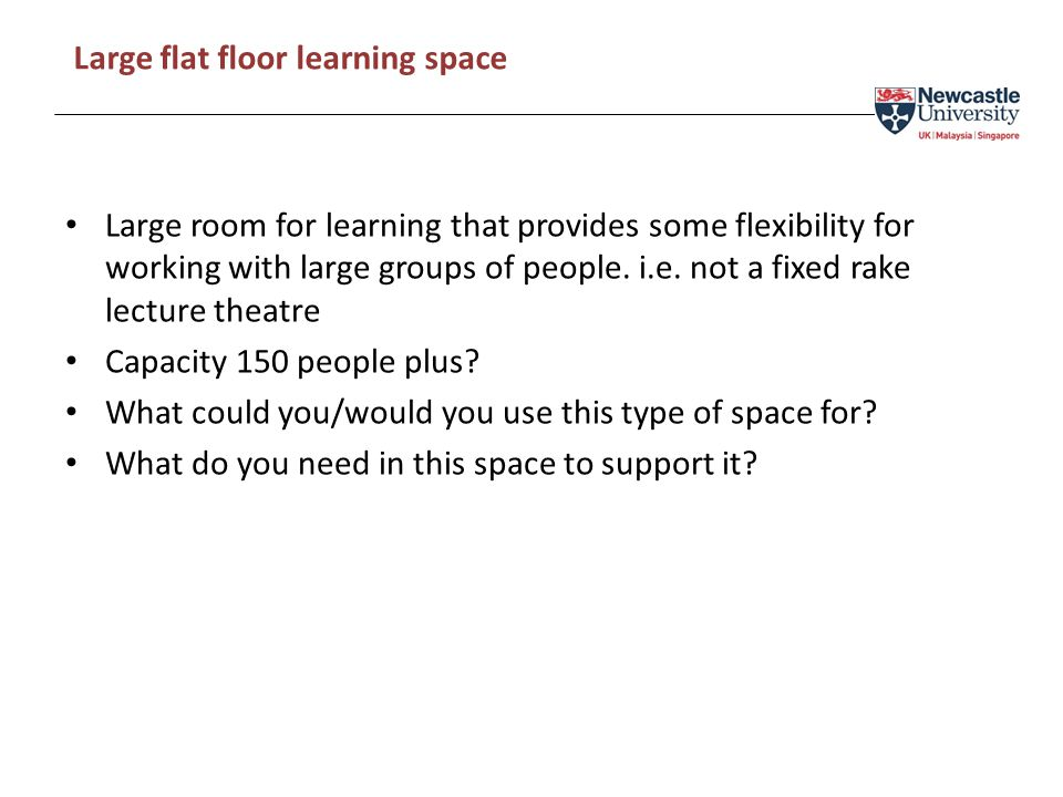 Large room for learning that provides some flexibility for working with large groups of people.