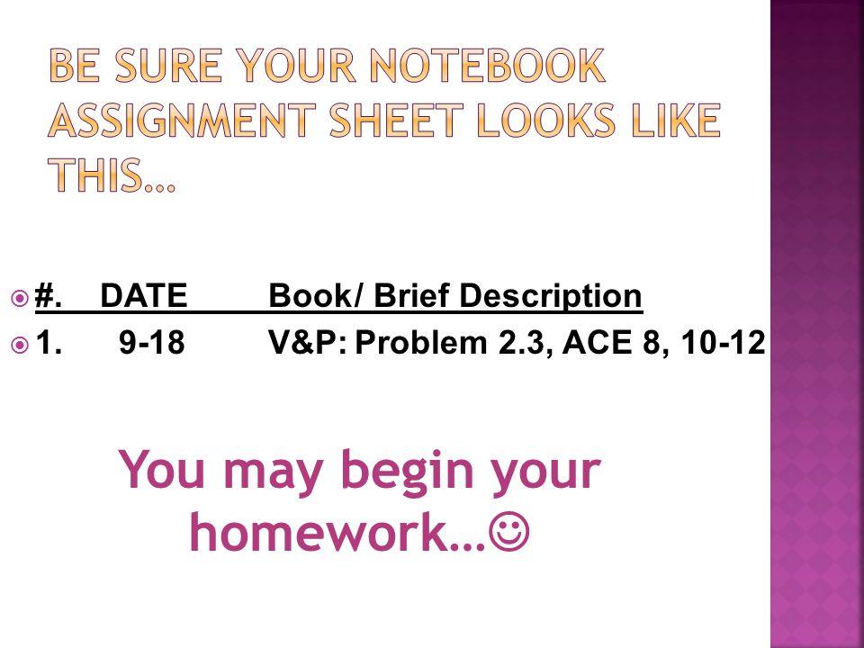  #. DATE Book/ Brief Description  1.