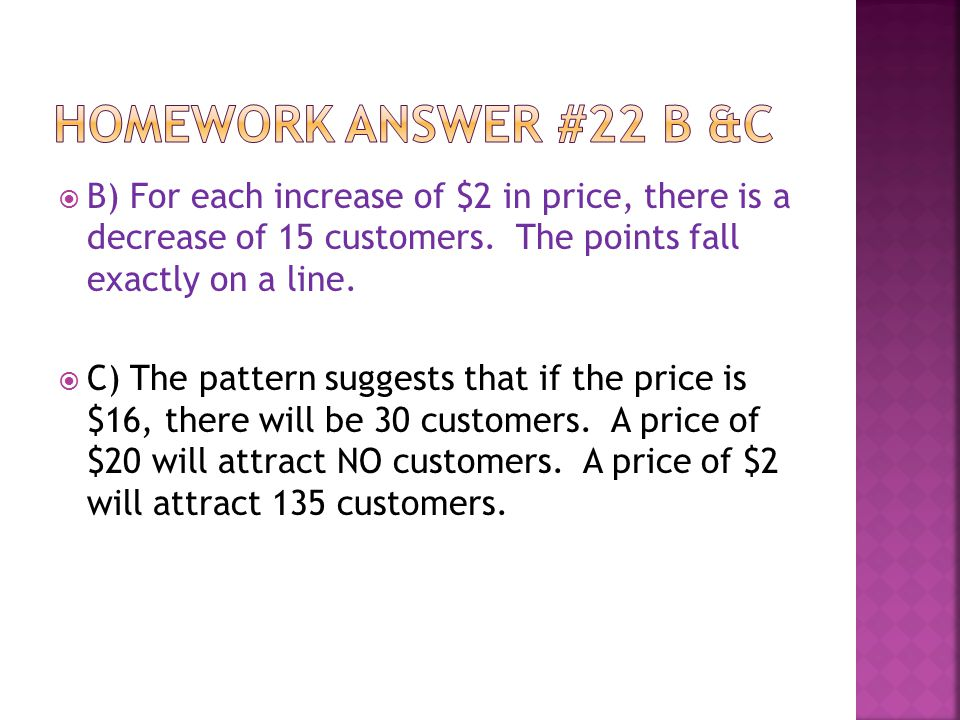  B) For each increase of $2 in price, there is a decrease of 15 customers.