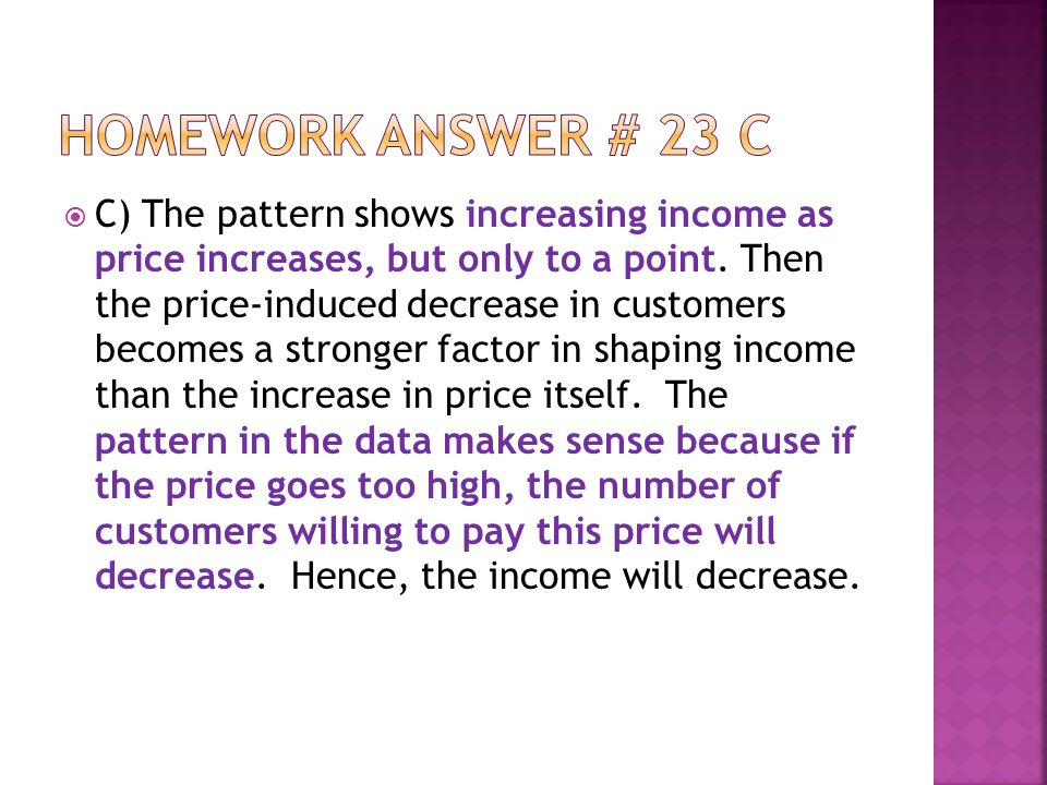  C) The pattern shows increasing income as price increases, but only to a point.