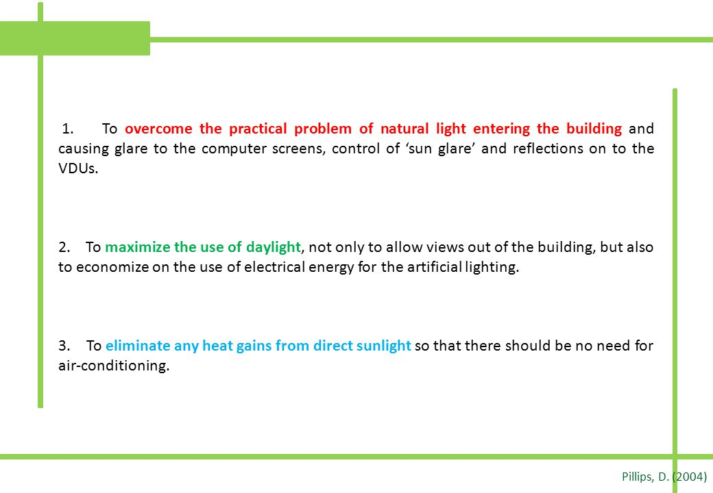 1. To overcome the practical problem of natural light entering the building and causing glare to the computer screens, control of 'sun glare' and refl