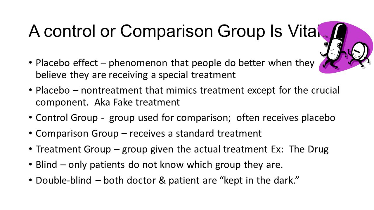 A control or Comparison Group Is Vital Placebo effect – phenomenon that people do better when they believe they are receiving a special treatment Placebo – nontreatment that mimics treatment except for the crucial component.
