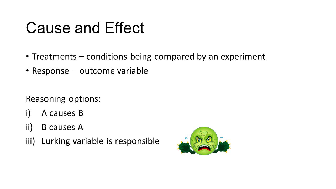 Cause and Effect Treatments – conditions being compared by an experiment Response – outcome variable Reasoning options: i)A causes B ii)B causes A iii)Lurking variable is responsible