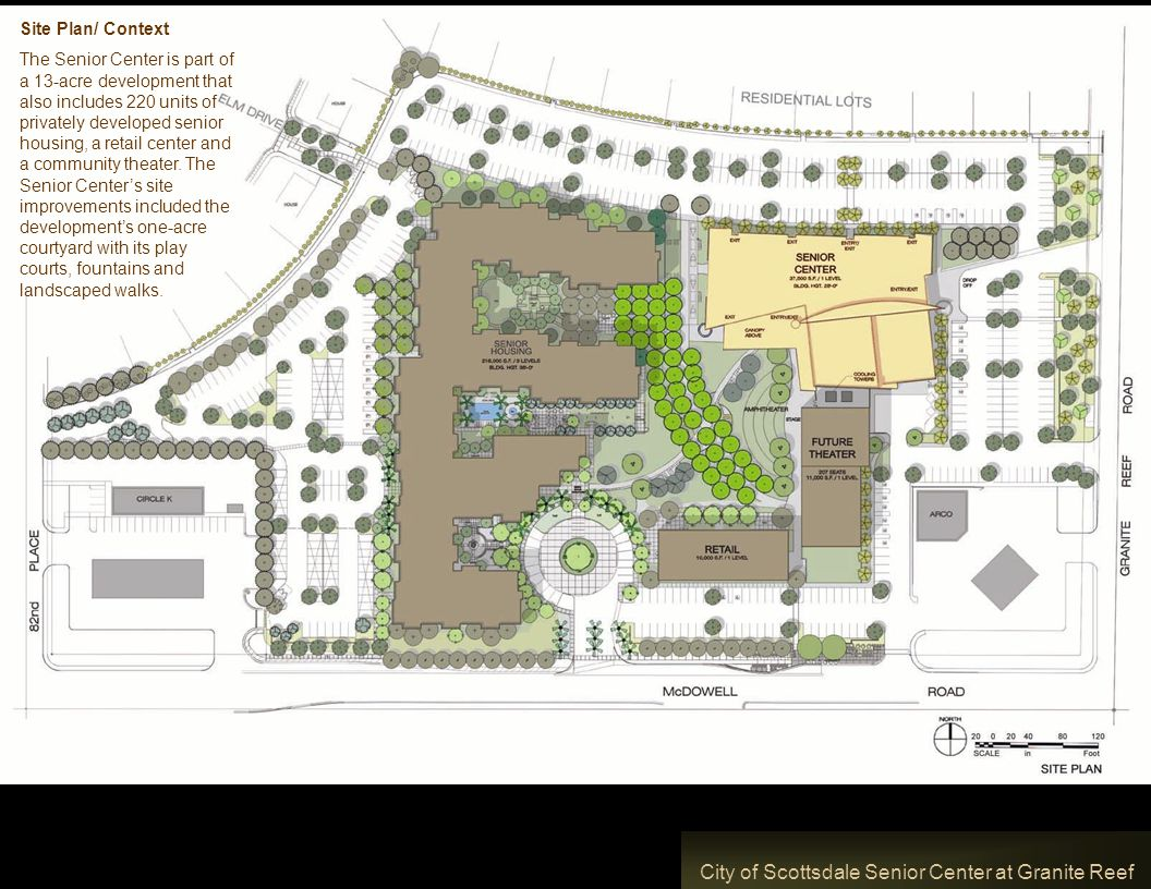 City of Scottsdale Senior Center at Granite Reef Site Plan/ Context The Senior Center is part of a 13-acre development that also includes 220 units of