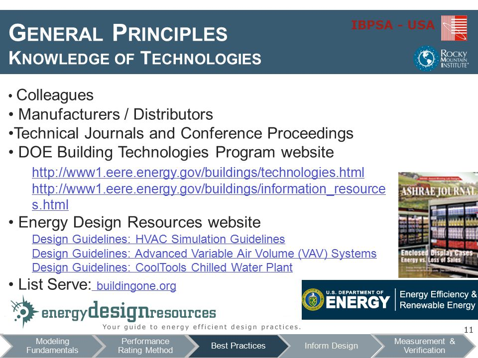 IBPSA - USA G ENERAL P RINCIPLES K NOWLEDGE OF T ECHNOLOGIES Colleagues Manufacturers / Distributors Technical Journals and Conference Proceedings DOE Building Technologies Program website http://www1.eere.energy.gov/buildings/technologies.html http://www1.eere.energy.gov/buildings/technologies.html http://www1.eere.energy.gov/buildings/information_resource s.html Energy Design Resources website Design Guidelines: HVAC Simulation Guidelines Design Guidelines: Advanced Variable Air Volume (VAV) Systems Design Guidelines: CoolTools Chilled Water Plant List Serve: buildingone.org buildingone.org 11