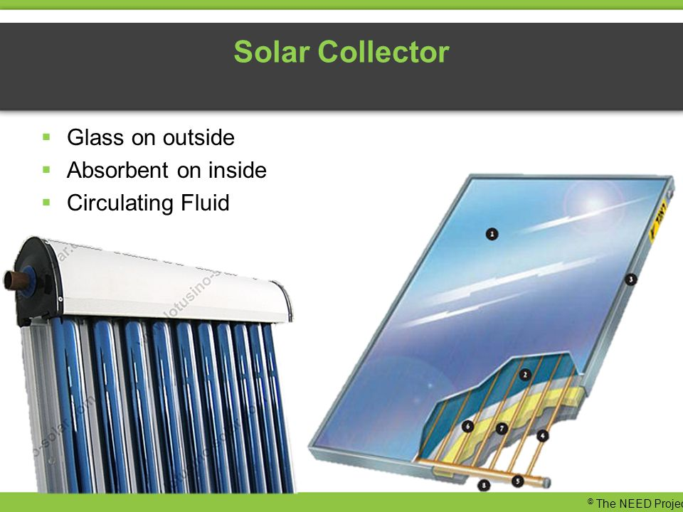Solar Collector  Glass on outside  Absorbent on inside  Circulating Fluid © The NEED Project
