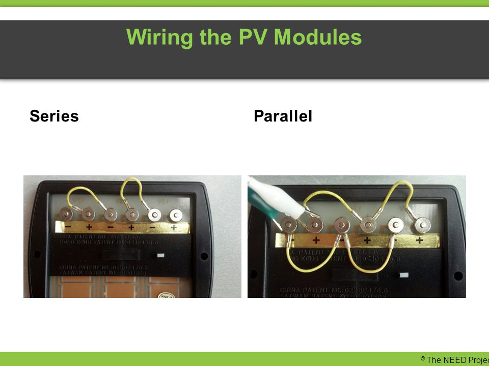 Wiring the PV Modules SeriesParallel © The NEED Project