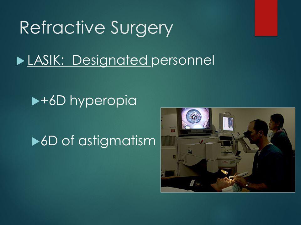 Refractive Surgery  LASIK: Designated personnel  +6D hyperopia  6D of astigmatism