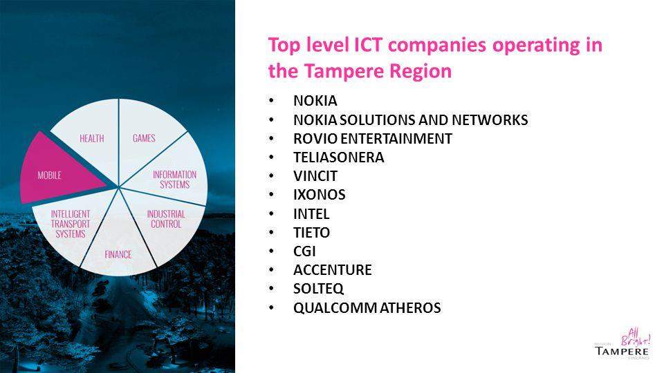 Top level ICT companies operating in the Tampere Region NOKIA NOKIA SOLUTIONS AND NETWORKS ROVIO ENTERTAINMENT TELIASONERA VINCIT IXONOS INTEL TIETO CGI ACCENTURE SOLTEQ QUALCOMM ATHEROS