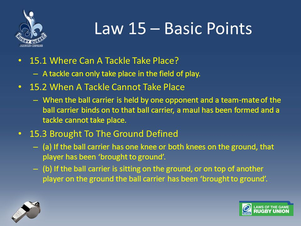 Law 15 – Basic Points 15.1 Where Can A Tackle Take Place.