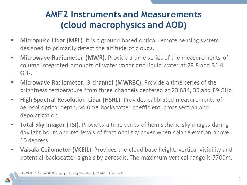 AMF2 Instruments and Measurements (cloud macrophysics and AOD)  Micropulse Lidar (MPL).