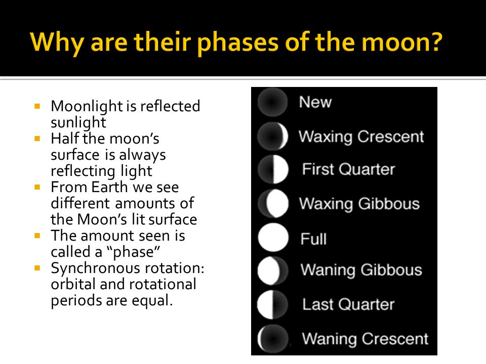  Moonlight is reflected sunlight  Half the moon's surface is always reflecting light  From Earth we see different amounts of the Moon's lit surface  The amount seen is called a phase  Synchronous rotation: orbital and rotational periods are equal.