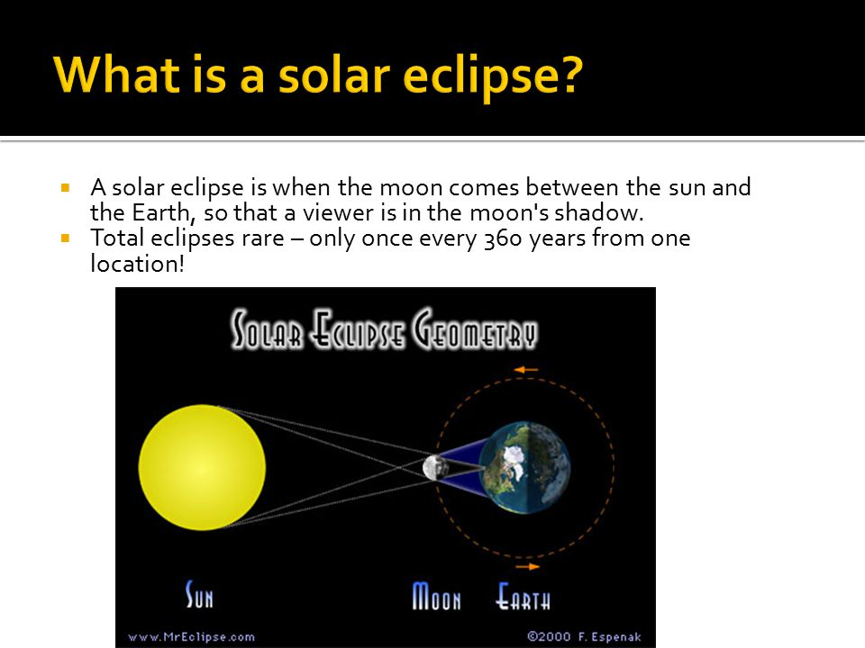  A solar eclipse is when the moon comes between the sun and the Earth, so that a viewer is in the moon s shadow.
