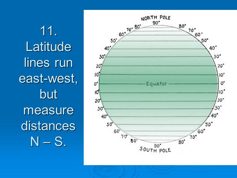 11. Latitude lines run east-west, but measure distances N – S.