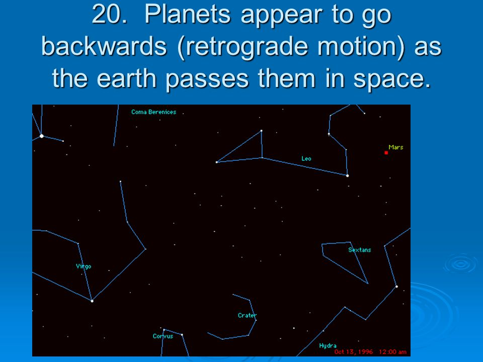20. Planets appear to go backwards (retrograde motion) as the earth passes them in space.