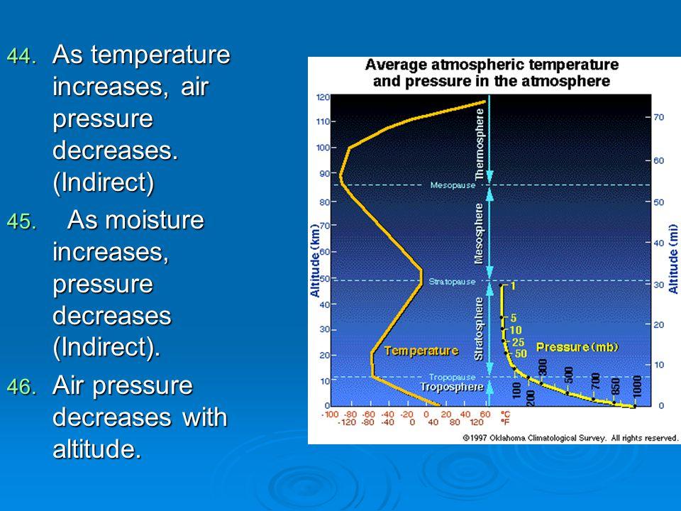 44. As temperature increases, air pressure decreases. (Indirect) 45. As moisture increases, pressure decreases (Indirect). 46. Air pressure decreases