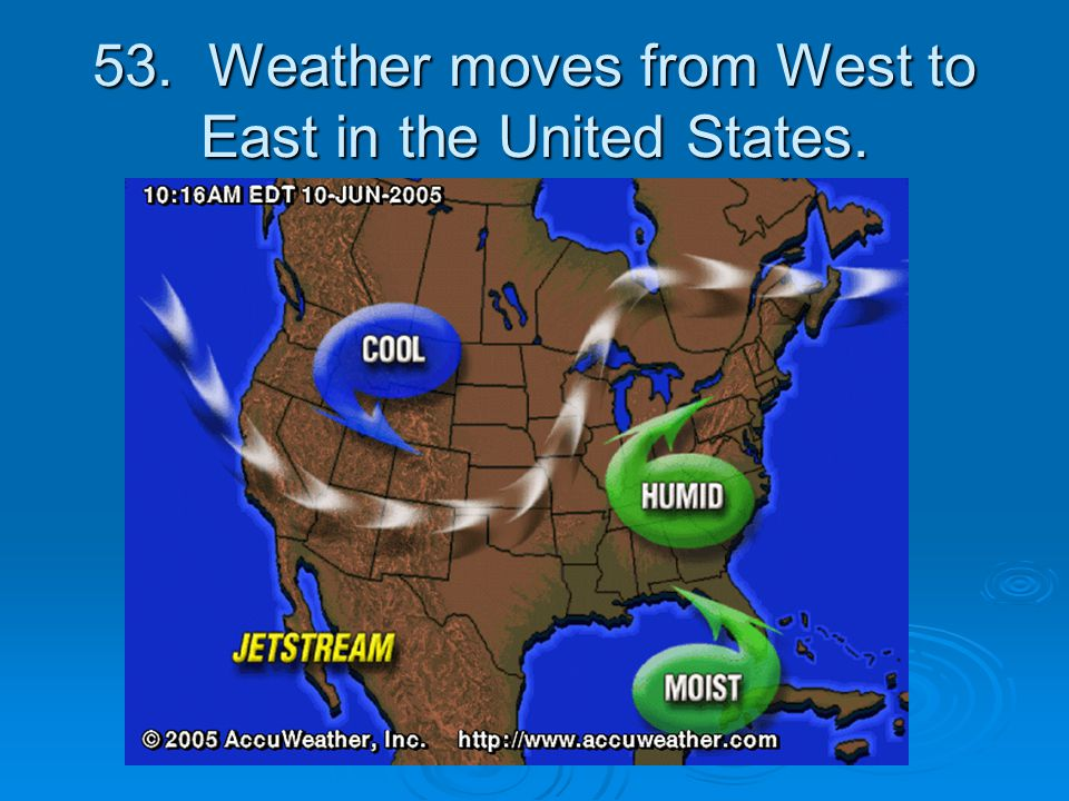 53. Weather moves from West to East in the United States.