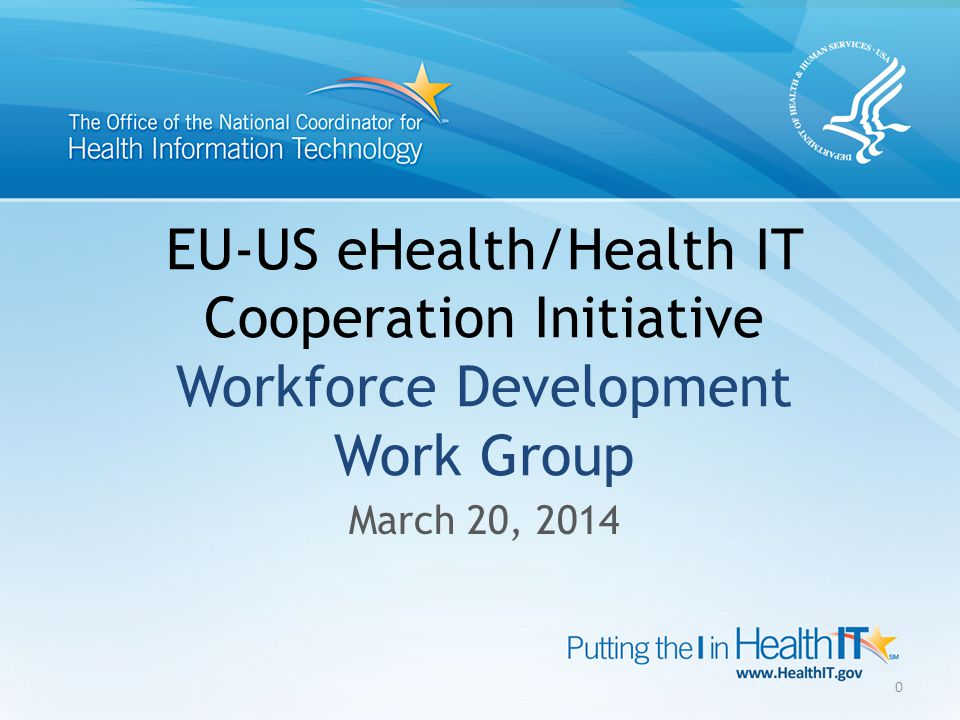 EU-US eHealth/Health IT Cooperation Initiative Workforce Development Work Group March 20, 2014 0