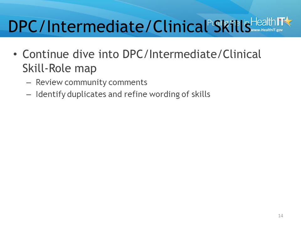 Continue dive into DPC/Intermediate/Clinical Skill-Role map – Review community comments – Identify duplicates and refine wording of skills 14 DPC/Inte