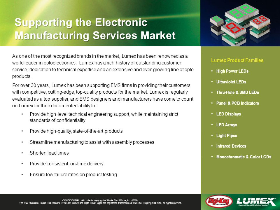 Supporting the Electronic Manufacturing Services Market CONFIDENTIAL: All contents copyright of Illinois Tool Works, Inc.