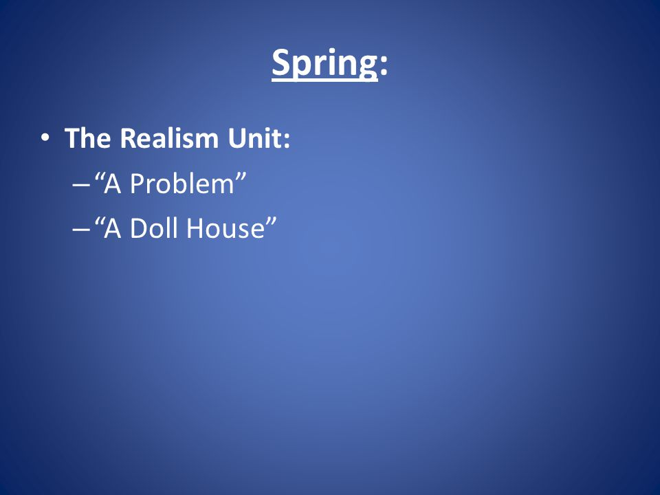 Spring: The Realism Unit: – A Problem – A Doll House
