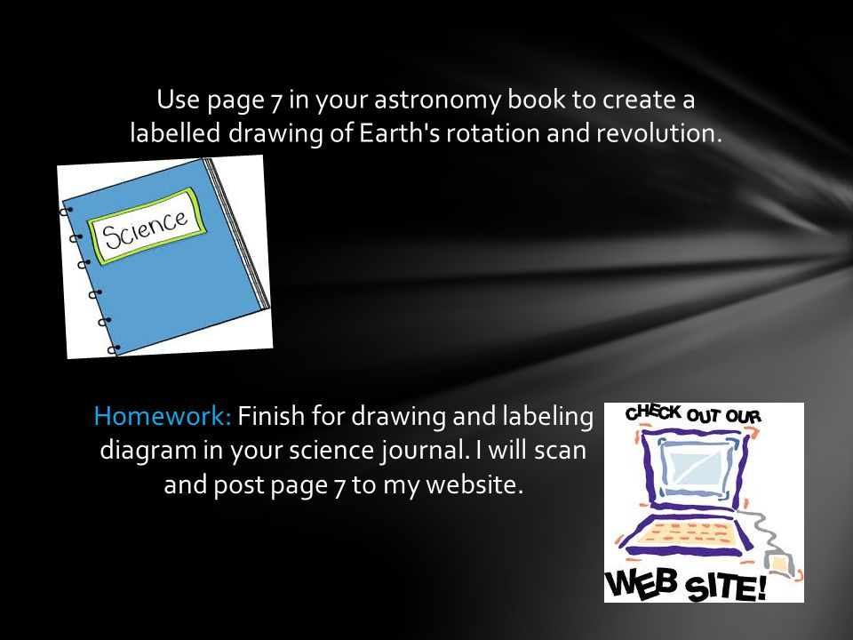 Use page 7 in your astronomy book to create a labelled drawing of Earth s rotation and revolution.
