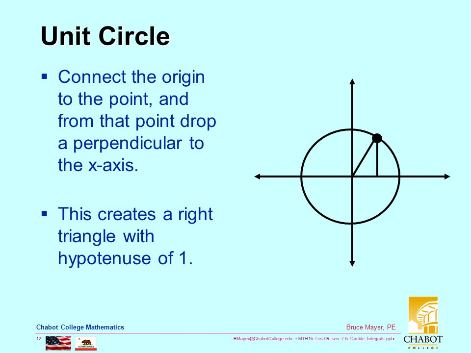 BMayer@ChabotCollege.edu MTH16_Lec-09_sec_7-6_Double_Integrals.pptx 12 Bruce Mayer, PE Chabot College Mathematics Unit Circle  Connect the origin to the point, and from that point drop a perpendicular to the x-axis.