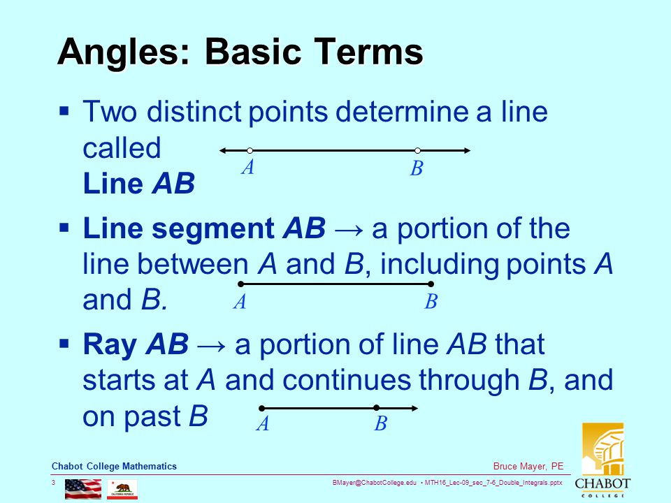 BMayer@ChabotCollege.edu MTH16_Lec-09_sec_7-6_Double_Integrals.pptx 14 Bruce Mayer, PE Chabot College Mathematics Unit Circle  Thus The CoOrdinates of the chosen point are the CoSine (x) and Sine (y) of the angle  This provides a way to define functions sin(  ) and cos(  ) for all real numbers  The Four other trigonometric functions can be defined from the Unit Circle as well