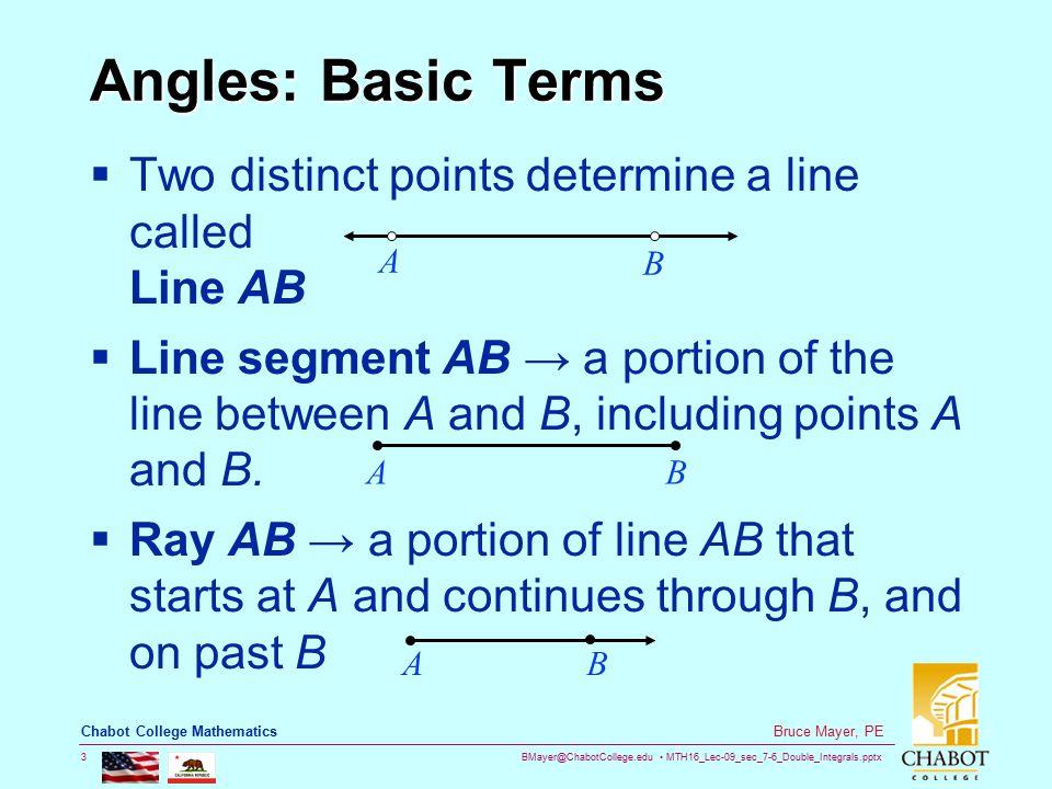 BMayer@ChabotCollege.edu MTH16_Lec-09_sec_7-6_Double_Integrals.pptx 24 Bruce Mayer, PE Chabot College Mathematics Pythagorean Identities  Also  In Summary