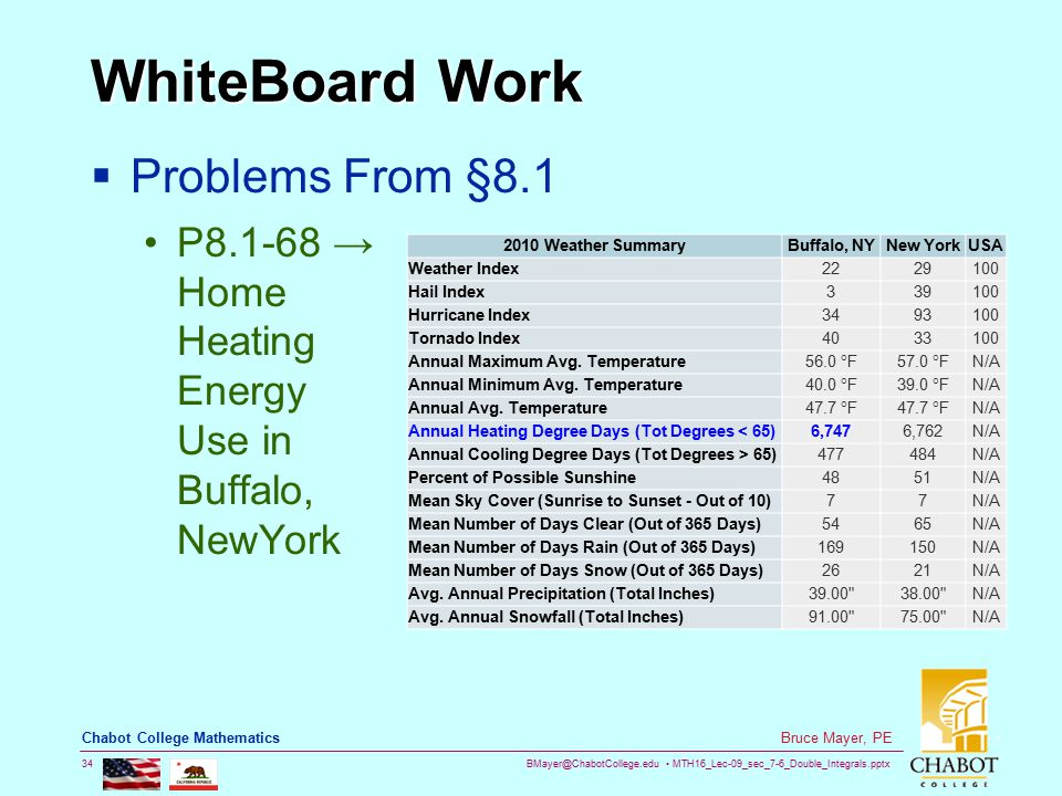 BMayer@ChabotCollege.edu MTH16_Lec-09_sec_7-6_Double_Integrals.pptx 34 Bruce Mayer, PE Chabot College Mathematics WhiteBoard Work  Problems From §8.1 P8.1-68 → Home Heating Energy Use in Buffalo, NewYork 2010 Weather SummaryBuffalo, NYNew YorkUSA Weather Index2229100 Hail Index339100 Hurricane Index3493100 Tornado Index4033100 Annual Maximum Avg.