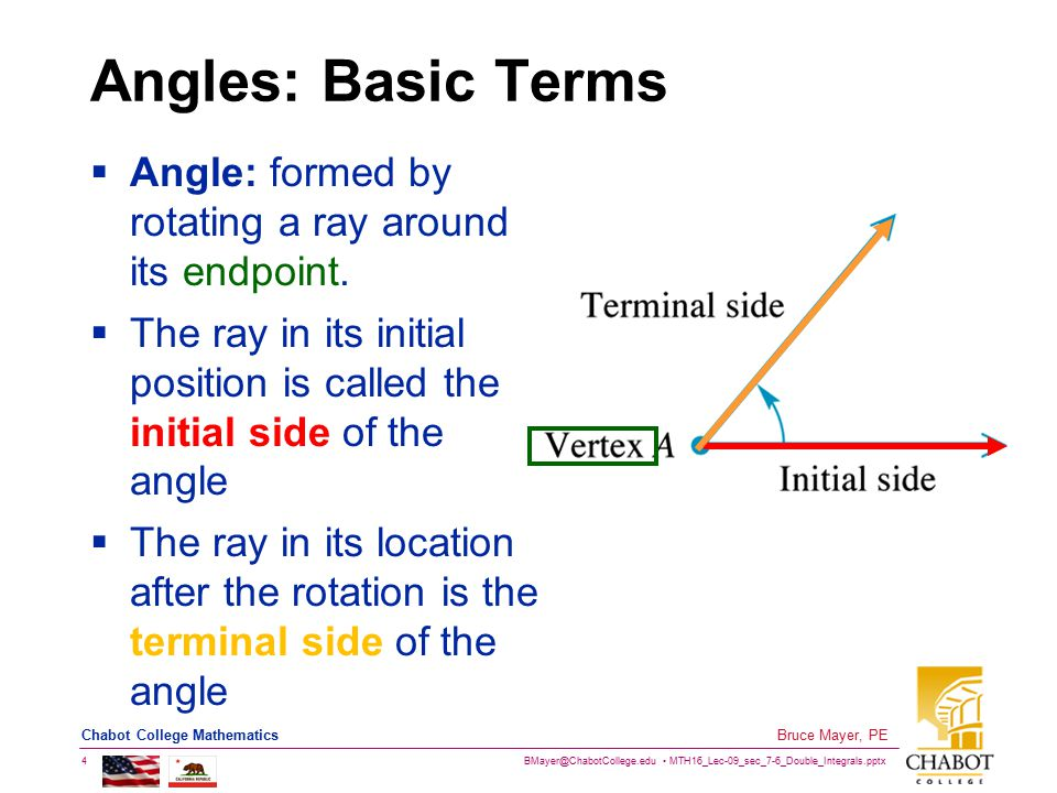 BMayer@ChabotCollege.edu MTH16_Lec-09_sec_7-6_Double_Integrals.pptx 5 Bruce Mayer, PE Chabot College Mathematics Identifying Angles  Unless it is ambiguous as to the meaning, angles may be named only by a single letter (English or Greek) displayed at vertex or in area of rotation between initial and terminal sides  Angles may also be named by three letters, one representing a point on the initial side, one representing the vertex and one representing a point on the terminal side (vertex letter in the middle, others first or last)