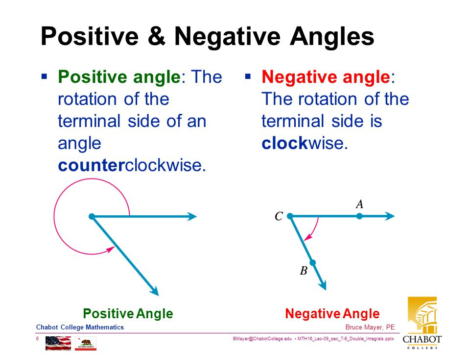 BMayer@ChabotCollege.edu MTH16_Lec-09_sec_7-6_Double_Integrals.pptx 7 Bruce Mayer, PE Chabot College Mathematics Angle: Measures & Classes  The most common unit for measuring angles is the degree (°) One Rotation or Cycle = 360°  Four Classes of Angle: Acute, Right, Obtuse, Straight