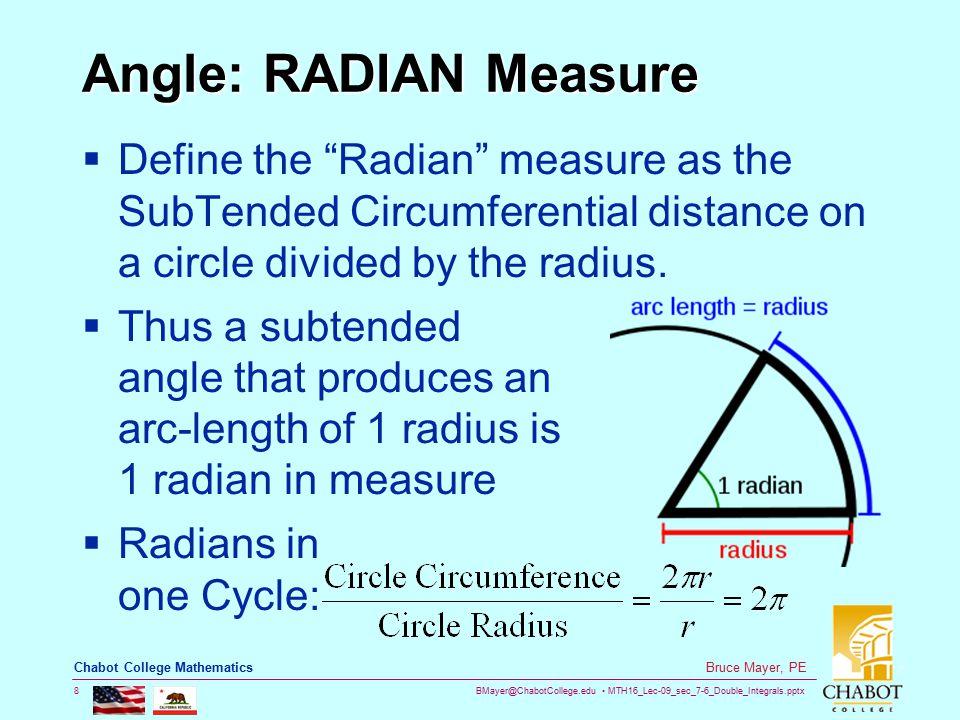 BMayer@ChabotCollege.edu MTH16_Lec-09_sec_7-6_Double_Integrals.pptx 19 Bruce Mayer, PE Chabot College Mathematics Graph: Sine & CoSine