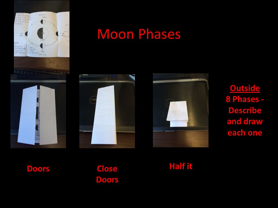 Moon Phases Doors Half it Outside 8 Phases - Describe and draw each one Close Doors