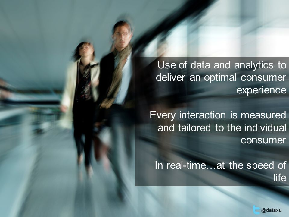 Use of data and analytics to deliver an optimal consumer experience Every interaction is measured and tailored to the individual consumer In real-time…at the speed of life @dataxu