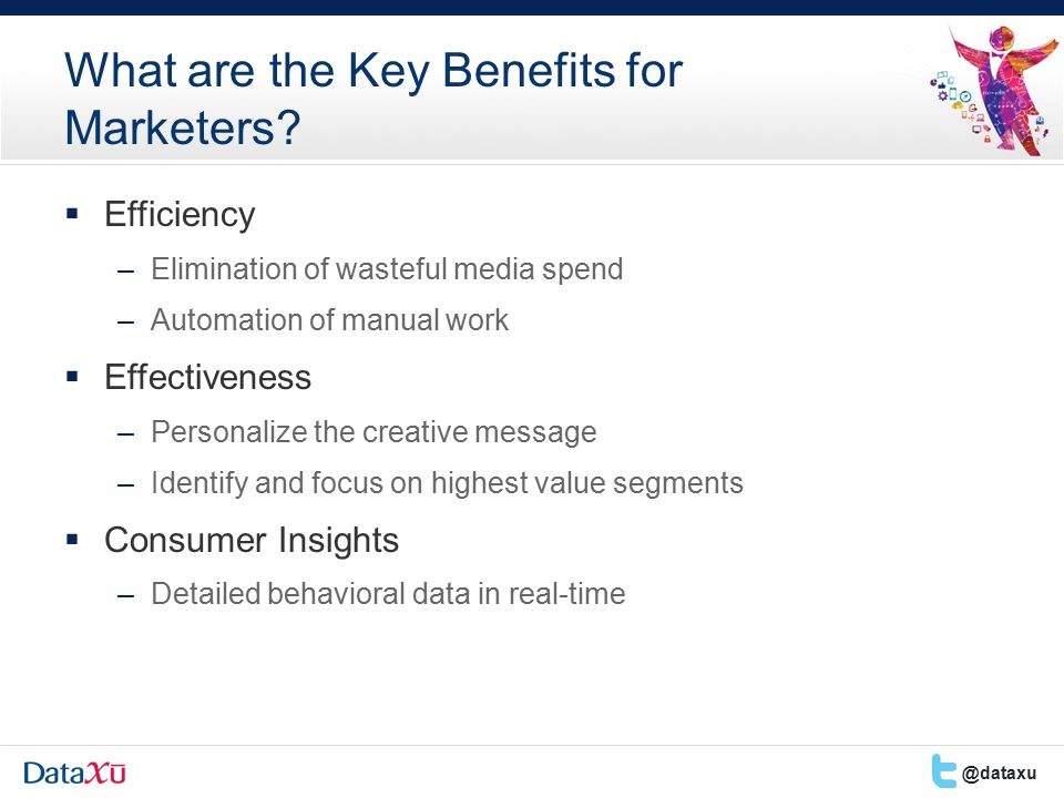  Efficiency –Elimination of wasteful media spend –Automation of manual work  Effectiveness –Personalize the creative message –Identify and focus on highest value segments  Consumer Insights –Detailed behavioral data in real-time What are the Key Benefits for Marketers.