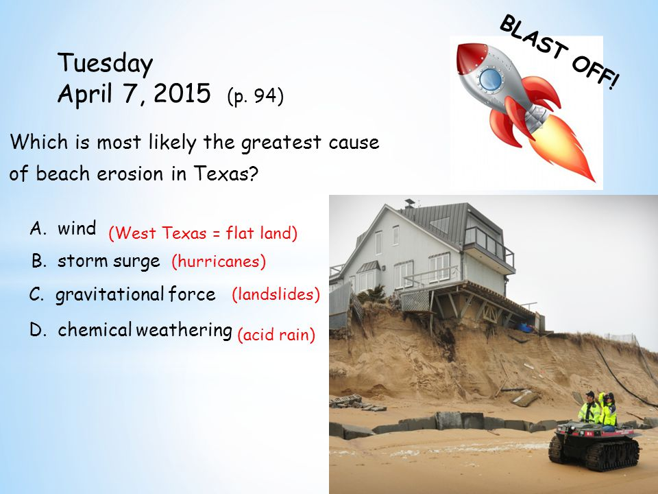 BLAST OFF. Tuesday April 7, 2015 (p.
