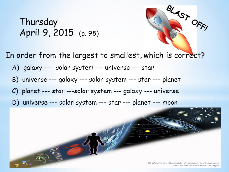 BLAST OFF. Thursday April 9, 2015 (p.
