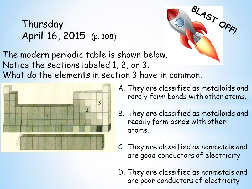 BLAST OFF. Thursday April 16, 2015 (p. 108) The modern periodic table is shown below.