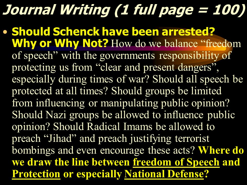 Journal Writing (1 full page = 100) Should Schenck have been arrested.